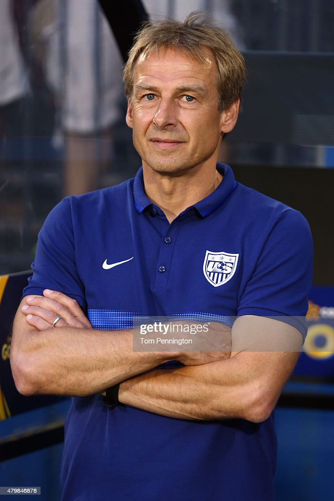 Head coach Jurgen Klinsmann of the USA looks on during the 2015 CONCACAF Gold Cup Group A match between USA and Honduras at Toyota Stadium on July 7, 2015 in Frisco, Texas.