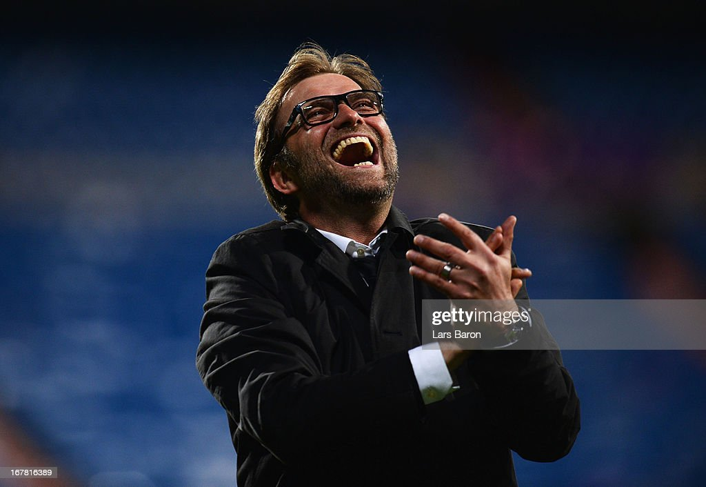 Head Coach Jurgen Klopp of Borussia Dortmund celebrates after the UEFA Champions League Semi Final Second Leg match between Real Madrid and Borussia Dortmund at Estadio Santiago Bernabeu on April 30, 2013 in Madrid, Spain.