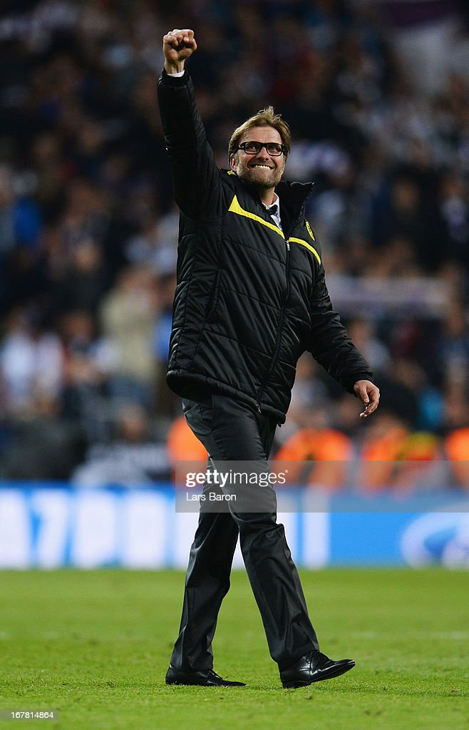 Head Coach Jurgen Klopp of Borussia Dortmund celebrates as his team reach the final after the UEFA Champions League Semi Final Second Leg match between Real Madrid and Borussia Dortmund at Estadio Santiago Bernabeu on April 30, 2013 in Madrid, Spain.