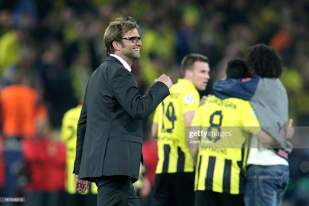 Head Coach Jurgen Klopp of Borussia Dortmund celebrates on the pitch at the final whistle during the UEFA Champions League semi final first leg match between Borussia Dortmund and Real Madrid at Signal Iduna Park on April 24, 2013 in Dortmund, Germany.