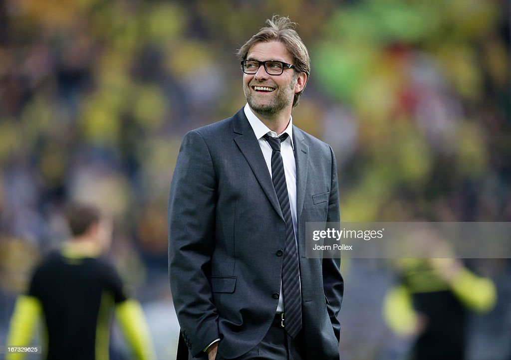 Head Coach Jurgen Klopp of Borussia Dortmund looks on during the UEFA Champions League semi final first leg match between Borussia Dortmund and Real Madrid at Signal Iduna Park on April 24, 2013 in Dortmund, Germany.