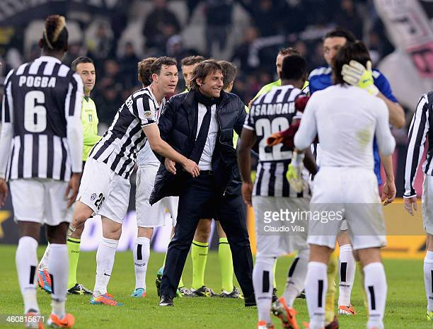 Head coach Juventus Antonio Conte celebrates at the end of the during the Serie A match between Juventus and AS Roma at Juventus Arena on January 5...