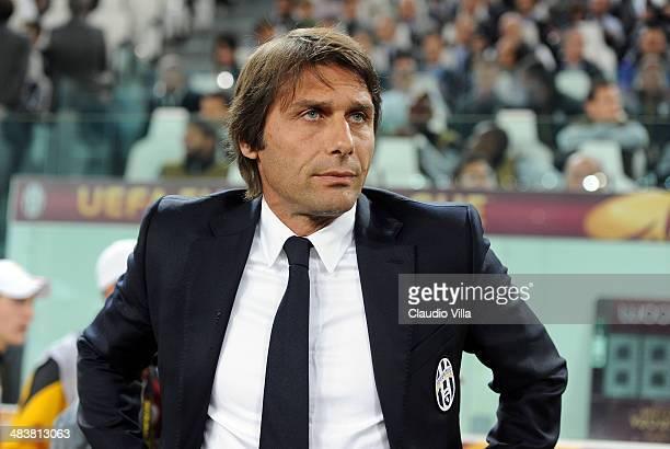 Head coach Juventus Antonio Conte looks on prior to the UEFA Europa League quarter final match between Juventus and Olympique Lyonnais at Juventus...