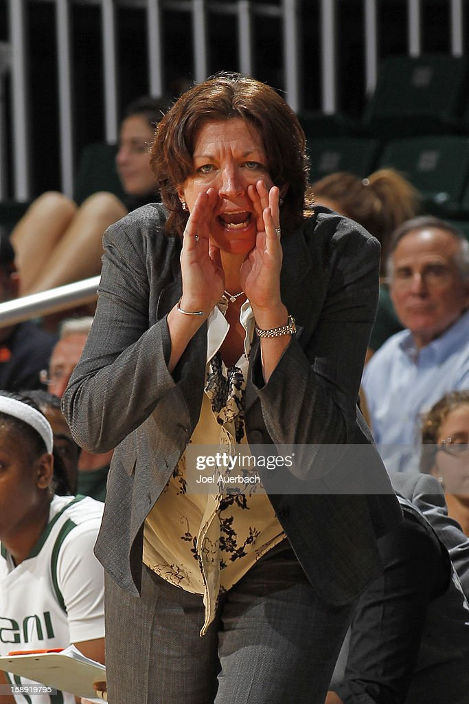 Head coach Katie Meier of the Miami Hurricanes calls a play during second half action against the Clemson Lady Tigers on January 3, 2013 at the BankUnited Center in Coral Gables, Florida. miami defeated Clemson 78-56.