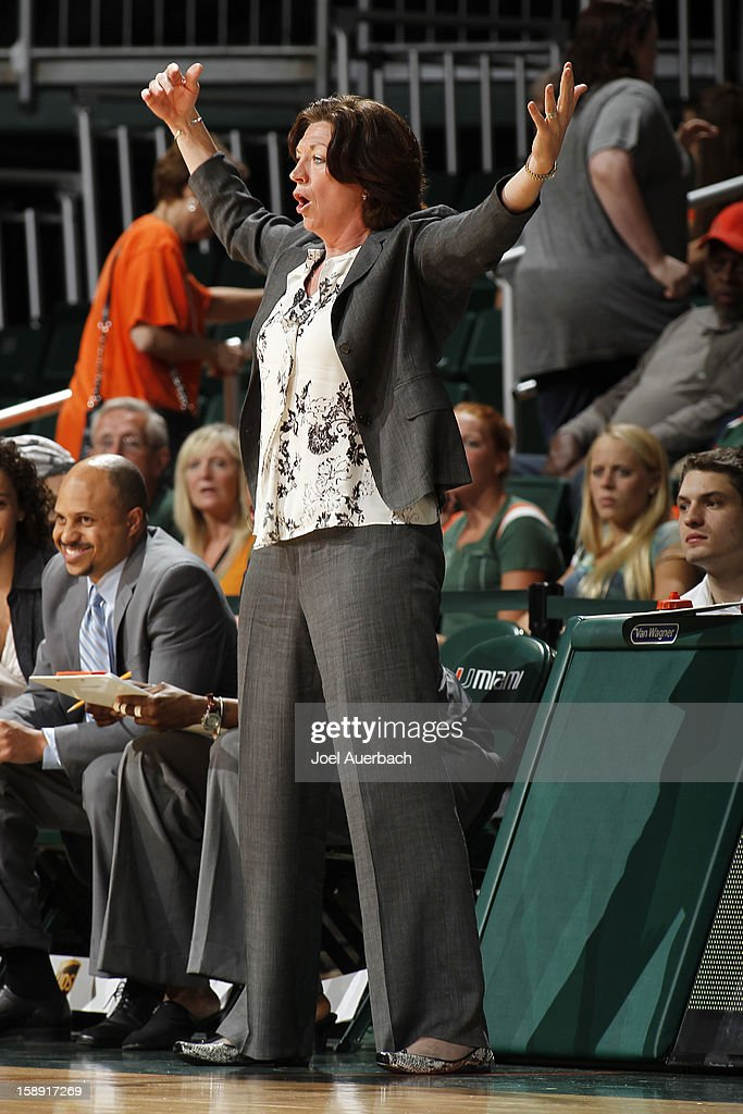 Head coach Katie Meier of the Miami Hurricanes reacts to first half action against the Clemson Lady Tigers on January 3, 2013 at the BankUnited Center in Coral Gables, Florida.