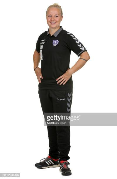 Head coach Katja Greulich of FF USV Jena poses during the Allianz Frauen Bundesliga Club Tour at Ernst Abbe Sportfeld on August 11 2017 in Jena...
