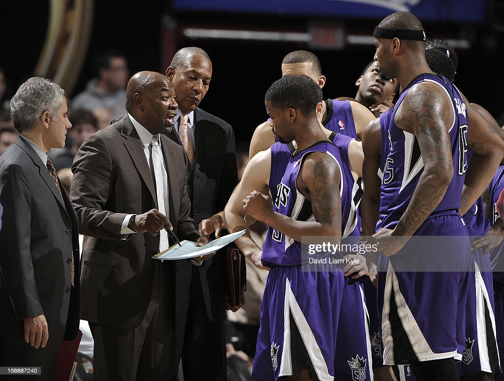 Head coach <a gi-track='captionPersonalityLinkClicked' href=/galleries/search?phrase=Keith+Smart&family=editorial&specificpeople=182522 ng-click='$event.stopPropagation()'>Keith Smart</a> of the Sacramento Kings discusses the next play with his team in the closing seconds against the Cleveland Cavaliers at The Quicken Loans Arena on January 2, 2013 in Cleveland, Ohio.
