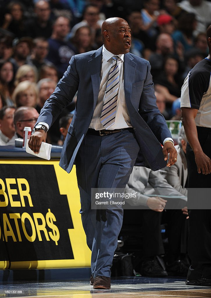 Head Coach <a gi-track='captionPersonalityLinkClicked' href=/galleries/search?phrase=Keith+Smart&family=editorial&specificpeople=182522 ng-click='$event.stopPropagation()'>Keith Smart</a> of the Sacramento Kings reacts during the game between the Sacramento Kings and the Denver Nuggets on January 26, 2013 at the Pepsi Center in Denver, Colorado.