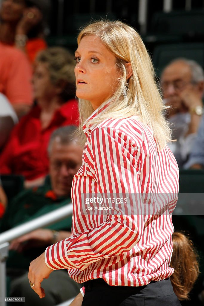 Head coach Kellie Harper of the North Carolina State Wolfpack looks on during second half action against the Miami Hurricanes on December 20, 2012 at the BankUnited Center in Coral Gables, Florida. The Hurricanes defeated the Wolfpack 79-53.