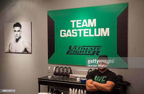 Head coach Kelvin Gastelum watches Cesar Arzamendia's warm up before facing Oliver Meza during the filming of The Ultimate Fighter Latin America Team...