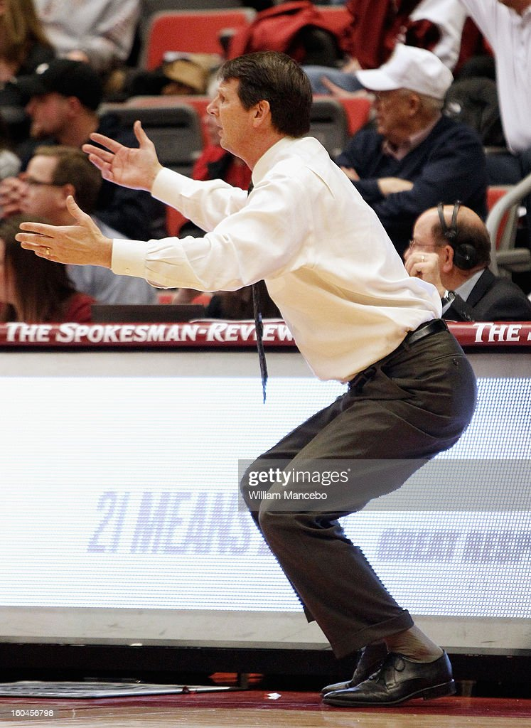 Head coach Ken Bone of the Washington State Cougars reacts after one of his players is called on a foul during the second half of the game against the Arizona State Sun Devils at Beasley Coliseum on January 31, 2013 in Pullman, Washington.