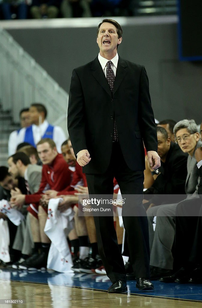 Head coach Ken Bone of the Washington State Cougars shouts instructions in the game with the UCLA Bruins at Pauley Pavilion on February 9, 2013 in Los Angeles, California.
