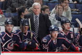 Head Coach Ken Hitchcock of the Columbus Blue Jackets watches the game against the St Louis Blues from the bench on January 11 2008 at Nationwide...
