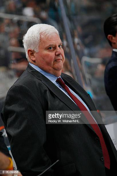 Head coach Ken Hitchcock of the St Louis Blues coaches against the San Jose Sharks at SAP Center on March 22 2016 in San Jose California