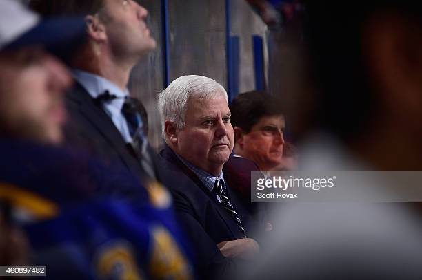 Head coach Ken Hitchcock of the St Louis Blues looks on during a game against the Colorado Avalanche on December 29 2014 at Scottrade Center in St...