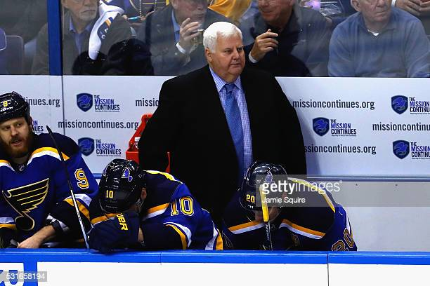Head coach Ken Hitchcock of the St Louis Blues looks on during the first period against the San Jose Sharks in Game One of the Western Conference...