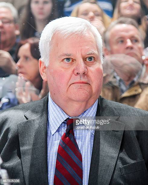 Head Coach Ken Hitchcock of the St Louis Blues looks on from the bench prior to puck drop against the Winnipeg Jets on March 19 2015 at the MTS...