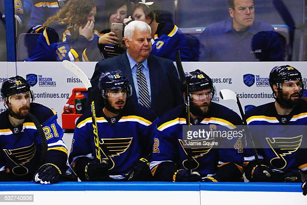 Head coach Ken Hitchcock of the St Louis Blues looks on in Game Two of the Western Conference Final against the San Jose Sharks during the 2016 NHL...