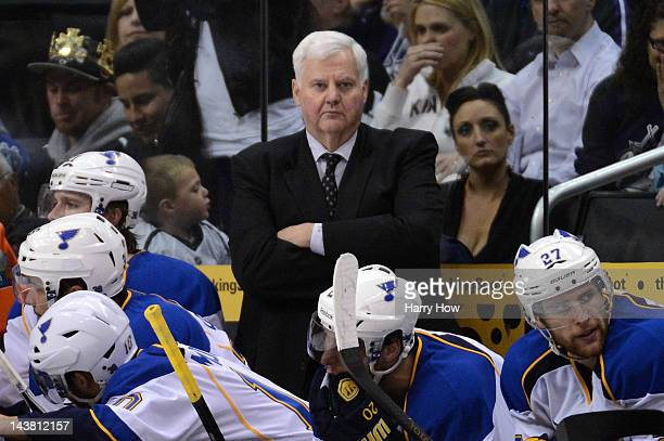Head coach Ken Hitchcock of the St Louis Blues looks on in the second period against the Los Angeles Kings in Game Three of the Western Conference...
