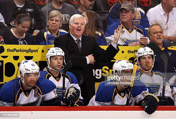 Head coach Ken Hitchcock of the St Louis Blues reacts to a penalty call during the first period of the NHL game against the Phoenix Coyotes at...