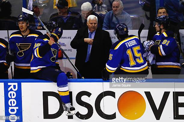Head Coach Ken Hitchcock of the St Louis Blues talks with players during Game One of the Western Conference Final against the San Jose Sharks during...