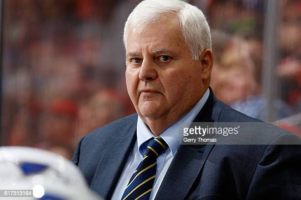 Head coach Ken Hitchcock of the St Louis Blues watches during an NHL game against the Calgary Flames on October 22 2016 at the Scotiabank Saddledome...