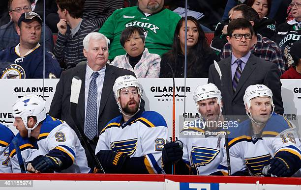 Head coach Ken Hitchcock of the St Louis Blues watches from the bench during the NHL game against the Arizona Coyotes at Gila River Arena on January...