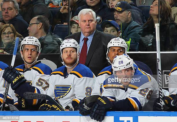 Head coach Ken Hitchcock of the St Louis Blues watches the action against the Buffalo Sabres on February 5 2015 at the First Niagara Center in...