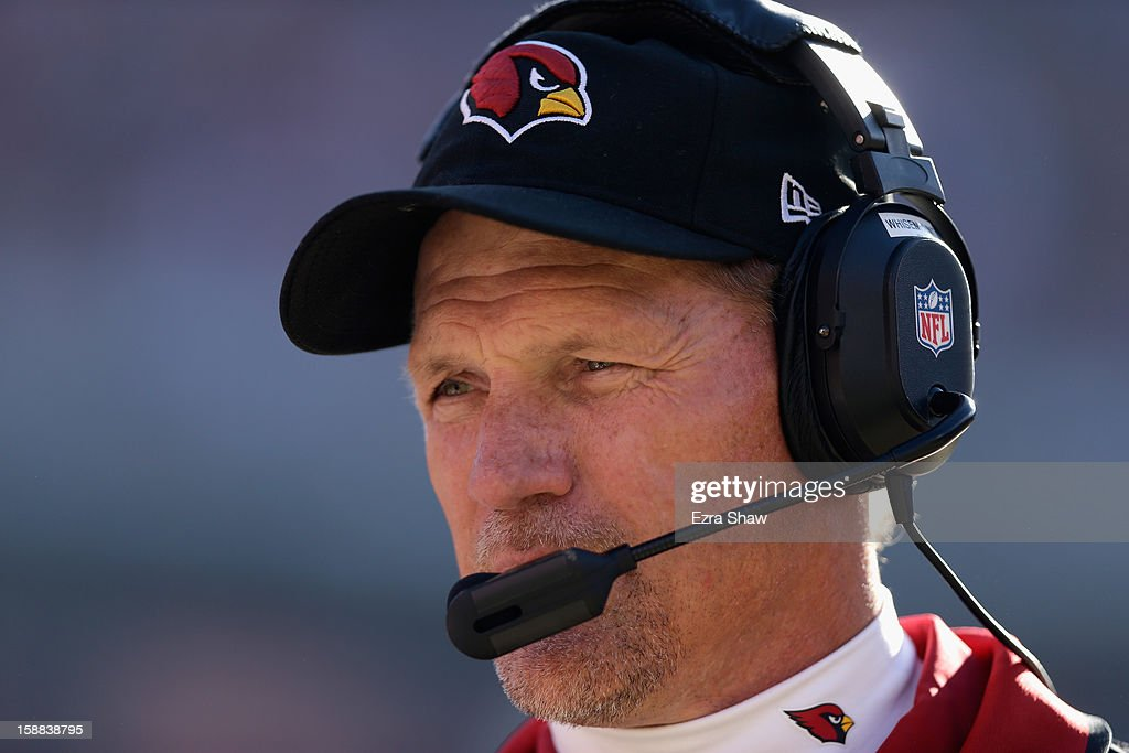 Head coach <a gi-track='captionPersonalityLinkClicked' href=/galleries/search?phrase=Ken+Whisenhunt&family=editorial&specificpeople=748686 ng-click='$event.stopPropagation()'>Ken Whisenhunt</a> of the Arizona Cardinals stands on the sidelines before their game against the San Francisco 49ers at Candlestick Park on December 30, 2012 in San Francisco, California.