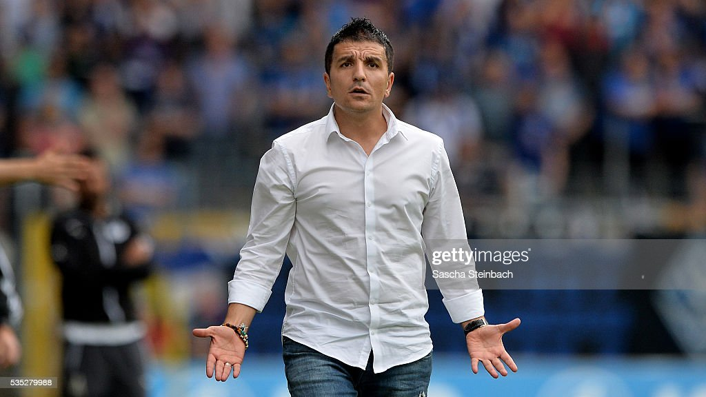 Head coach Kenan Kocak of Mannheim reacts during the 3. Liga playoff leg 2 match between Waldhof Mannheim and Sportfreunde Lotte at Carl-Benz-Stadion on May 29, 2016 in Lotte, Germany.