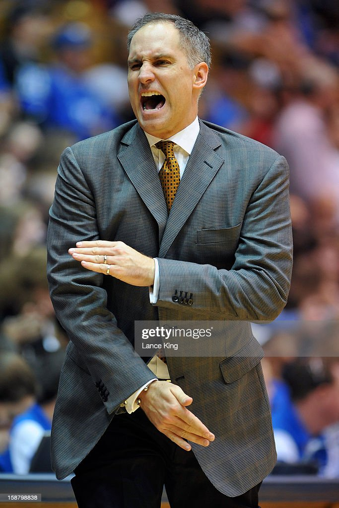 Head coach Kerry Keating of the Santa Clara Broncos reacts to a play against the Duke Blue Devils at Cameron Indoor Stadium on December 29, 2012 in Durham, North Carolina. Duke defeated Santa Clara 90-77.