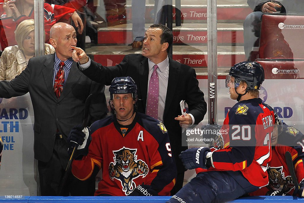 Head coach Kevin Dineen of the Florida Panthers reacts to a call during the third period against the Washington Capitals on February 17, 2012 at the BankAtlantic Center in Sunrise, Florida. The Capitals defeated the Panthers 2-1.
