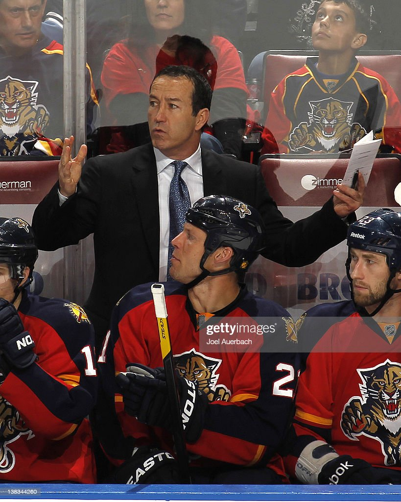 Head coach <a gi-track='captionPersonalityLinkClicked' href=/galleries/search?phrase=Kevin+Dineen&family=editorial&specificpeople=654130 ng-click='$event.stopPropagation()'>Kevin Dineen</a> of the Florida Panthers reacts to play during the third period against the Winnipeg Jets on February 3, 2012 at the BankAtlantic Center in Sunrise, Florida. The Panthers defeated the Jets 2-1.
