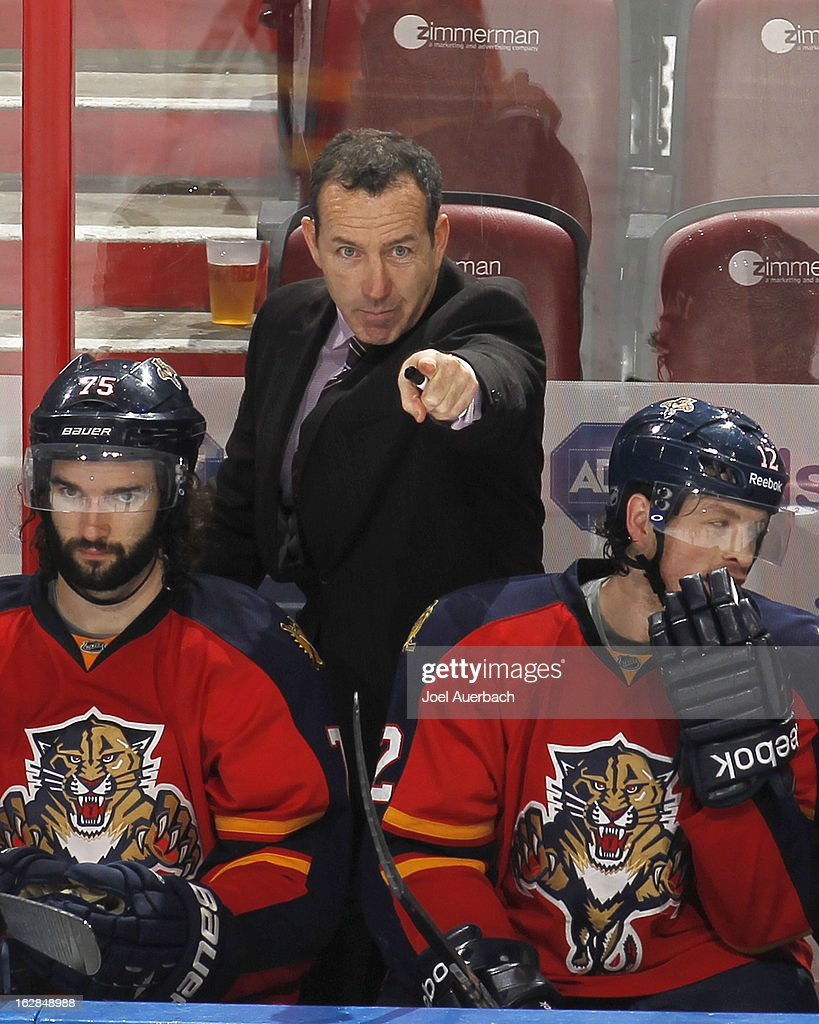 Head coach <a gi-track='captionPersonalityLinkClicked' href=/galleries/search?phrase=Kevin+Dineen&family=editorial&specificpeople=654130 ng-click='$event.stopPropagation()'>Kevin Dineen</a> of the Florida Panthers reacts to third period game action against the Pittsburgh Penguins at the BB&T Center on February 26, 2013 in Sunrise, Florida. The Panthers defeated the Penguins 6-4.