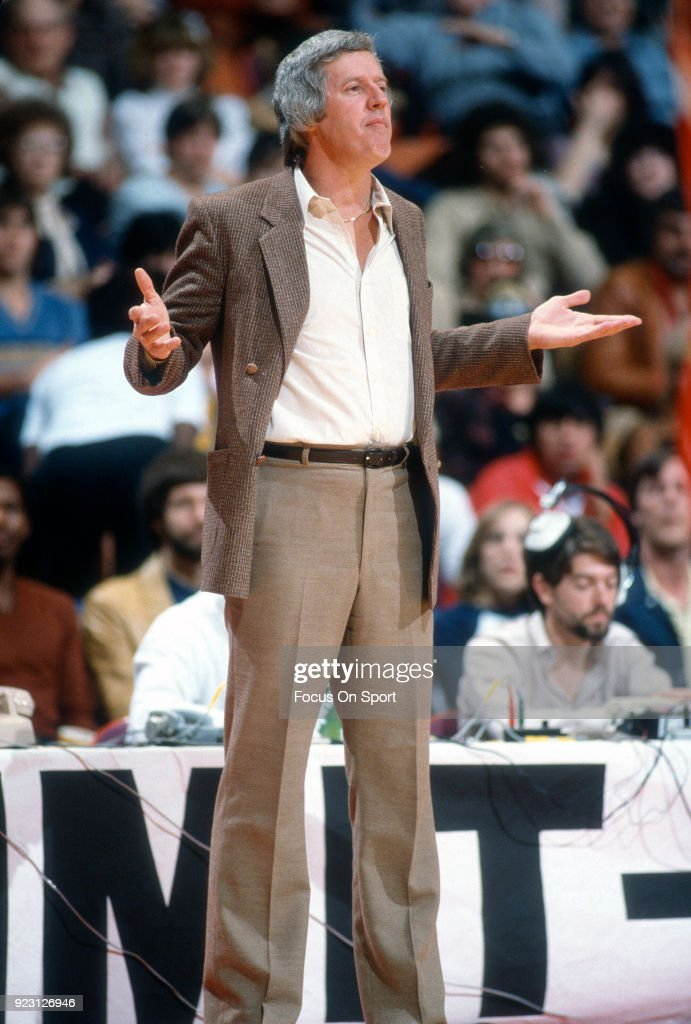 Head coach Kevin Loughery of the Chicago Bulls looks on during an NBA basketball game circa 1985 at the Chicago Stadium in Chicago, Illinois. Loughery coached the Bulls from 1983-85.