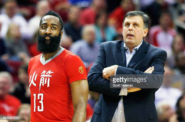 Head coach Kevin McHale and James Harden of the Houston Rockets wait near the bench area during their game against the Toronto Raptors at the Toyota...