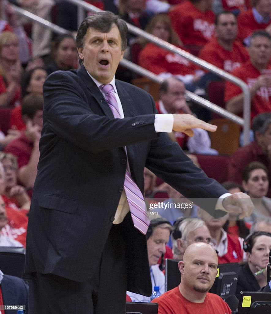 Head coach Kevin McHale of the Houston Rockets directs his team against the Oklahoma City Thunder in the second half of their Western Conference playoff game game on Friday, May 3, 2013, in Houston, Texas.