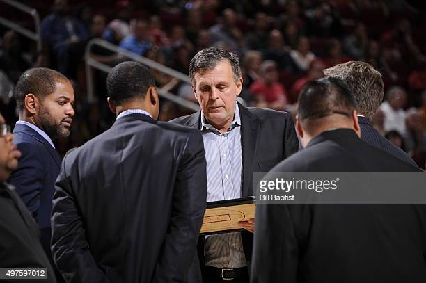 Head coach Kevin McHale of the Houston Rockets during the game against the Boston Celtics on November 16 2015 at the Toyota Center in Houston Texas...
