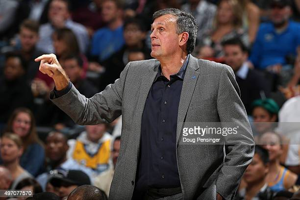 Head coach Kevin McHale of the Houston Rockets leads his team against the Denver Nuggets at Pepsi Center on November 13 2015 in Denver Colorado The...