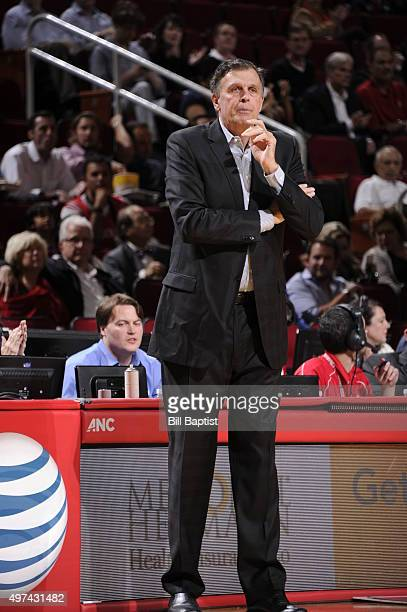 Head coach Kevin McHale of the Houston Rockets looks on against the Boston Celtics on November 16 2015 at the Toyota Center in Houston Texas NOTE TO...