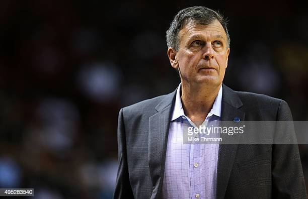 Head coach Kevin McHale of the Houston Rockets looks on during a game against the Miami Heat at American Airlines Arena on November 1 2015 in Miami...