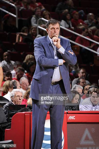 Head Coach Kevin McHale of the Houston Rockets looks on during the game against the Dallas Mavericks on November 14 2015 at the Toyota Center in...