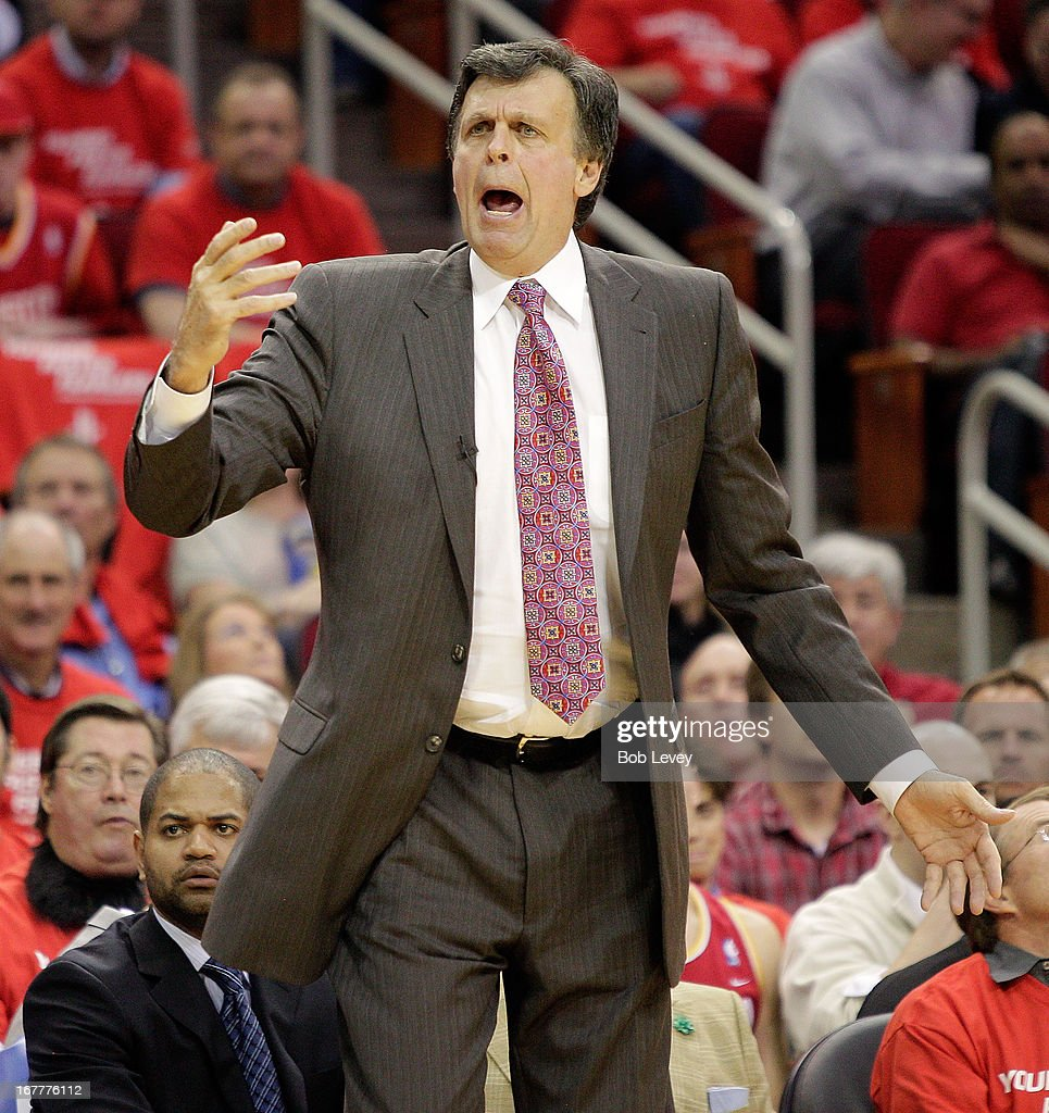 Head coach Kevin McHale of the Houston Rockets questions a referees call against the Oklahoma City Thunder during Game Four of the Western Conference Quarterfinals of the 2013 NBA Playoffs at the Toyota Center on April 29, 2013 in Houston, Texas.