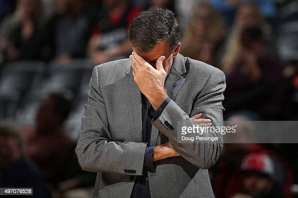Head coach Kevin McHale of the Houston Rockets reacts as he leads his team against the Denver Nuggets at Pepsi Center on November 13 2015 in Denver...