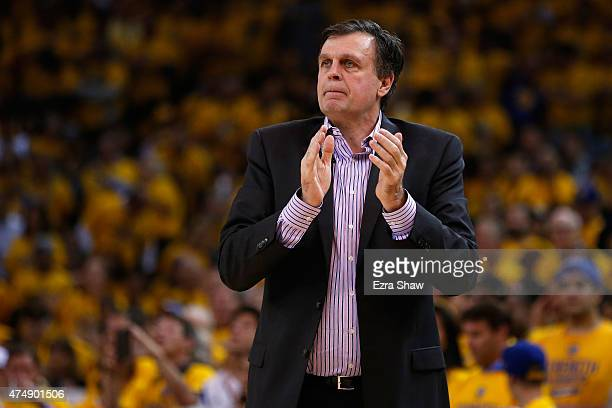 Head coach Kevin McHale of the Houston Rockets reacts in the first half while taking on the Golden State Warriors during game five of the Western...