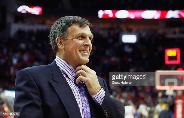 Head coach Kevin McHale of the Houston Rockets smiles as he walks off the court after the Rockets defeated the Philadelphia 76ers 8887 at the Toyota...
