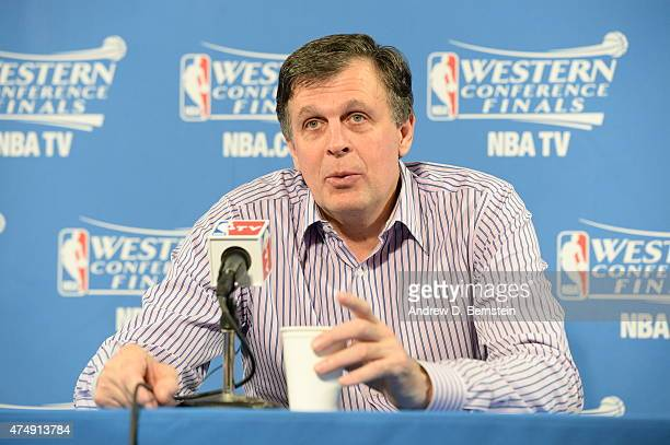 Head Coach Kevin McHale of the Houston Rockets speaks to the media after Game Five of the Western Conference Finals against the Golden State Warriors...