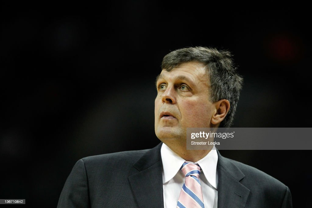Head coach <a gi-track='captionPersonalityLinkClicked' href=/galleries/search?phrase=Kevin+McHale+-+Jogador+de+basquetebol&family=editorial&specificpeople=212851 ng-click='$event.stopPropagation()'>Kevin McHale</a> of the Houston Rockets watches on during their game against the Charlotte Bobcats at Time Warner Cable Arena on January 10, 2012 in Charlotte, North Carolina.