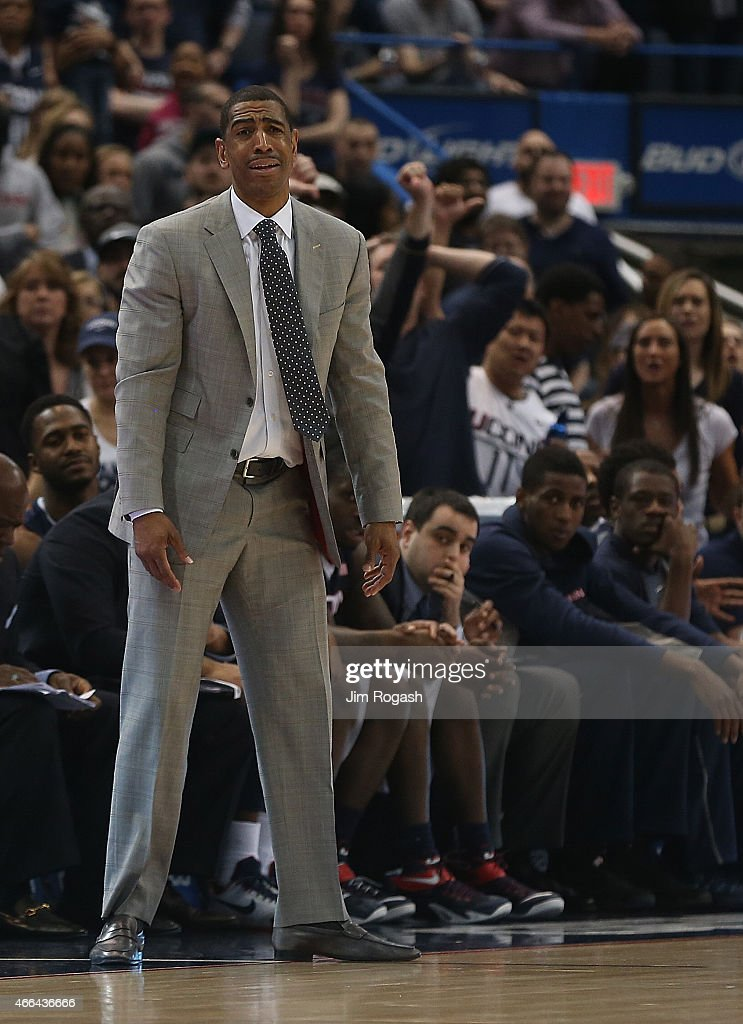 Head coach <a gi-track='captionPersonalityLinkClicked' href=/galleries/search?phrase=Kevin+Ollie&family=editorial&specificpeople=202896 ng-click='$event.stopPropagation()'>Kevin Ollie</a> of the Connecticut Huskies reacts in the second half against the Southern Methodist Mustangs in the final game of the American 2015 Championships at the XL Center on March 15, 2015 in Hartford, Connecticut.