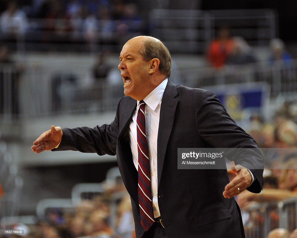 Head coach Kevin Stallings of the Vanderbilt Commodores directs play against the Florida Gators March 6, 2013 at Stephen C. O'Connell Center in Gainesville, Florida.